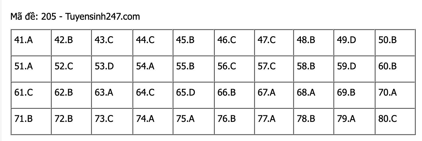 Đáp án mã đề 205 môn Hóa học thi Tốt nghiệp THPT 2021