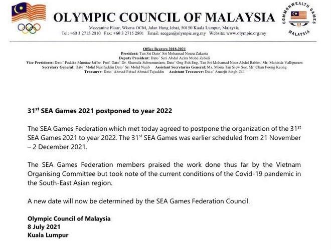 SEA Games 31 bị hoãn vì dịch Covid-19