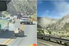 Video hàng chục khối đá lăn xuống đường cao tốc do động đất