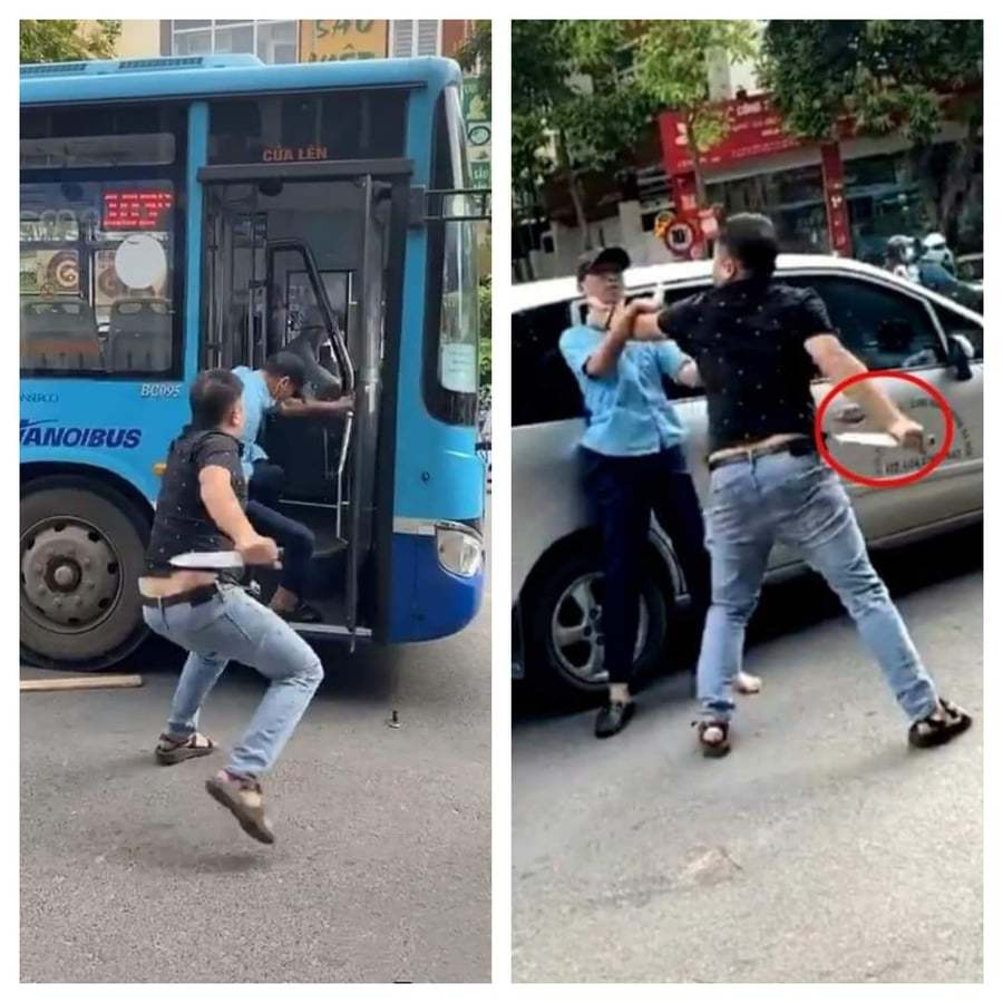 Danh tính người đàn ông bóp cổ, cầm dao đe dọa nhân viên xe buýt ở Hà Nội
