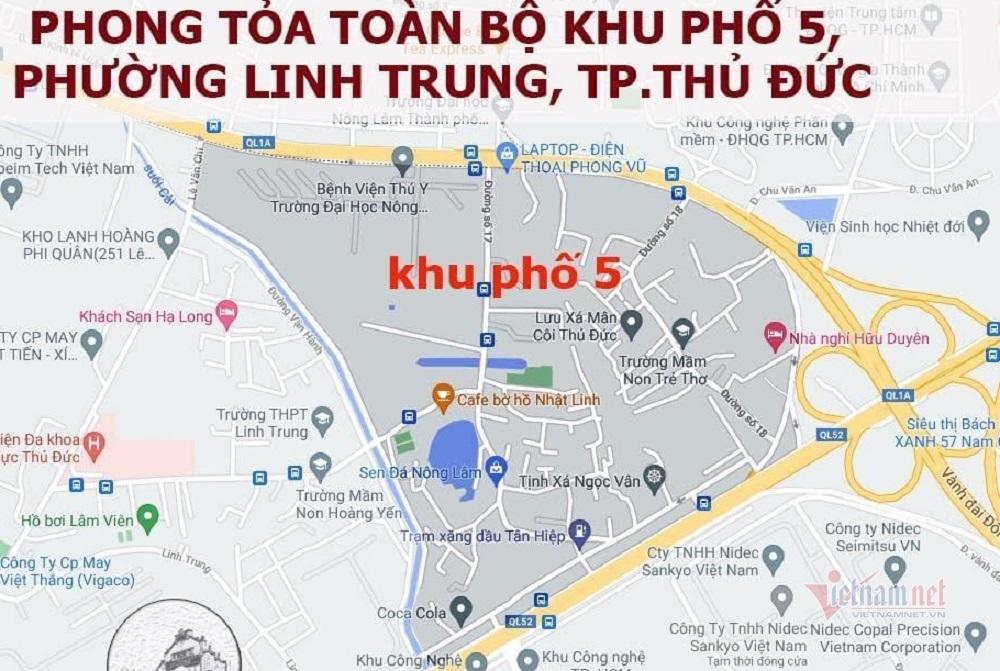 TP Thủ Đức phong tỏa khu phố có 13.000 người ở phường Linh Trung
