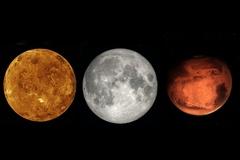 Tối nay, Mặt Trăng, Hỏa tinh và Kim tinh sẽ nằm trên một đường thẳng