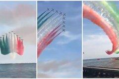 Màn trình diễn ngoạn mục của phi đội bay mừng Italy vô địch EURO