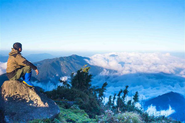 On one of the highest peaks of Vietnam