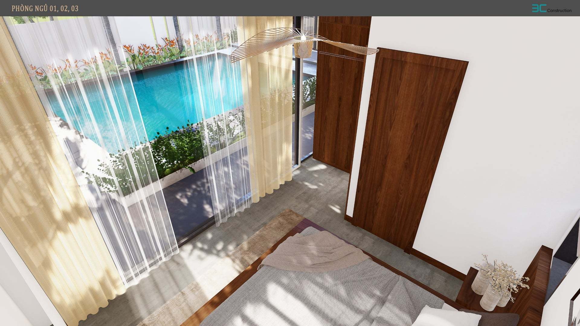 Nhà vườn 3 mặt thoáng, mở cửa là đắm chìm vào hồ bơi xanh mát