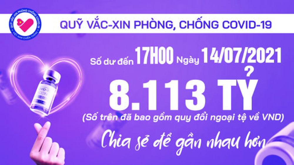 17h ngày 14/7: Quỹ vắc xin tăng thêm 23 tỷ, đạt 8.113 tỷ đồng
