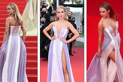 Mẫu nội y tung váy lộ vòng 3 trên thảm đỏ LHP Cannes
