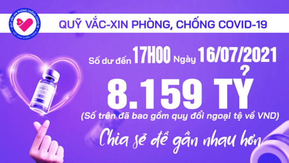 17h ngày 16/7: Quỹ vắc xin tăng thêm 26 tỷ, đạt 8.159 tỷ đồng