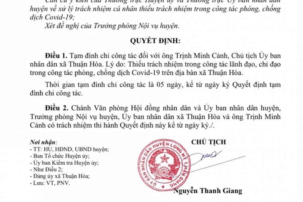 Chủ tịch UBND xã bị tạm đình chỉ do thiếu trách nhiệm trong chống dịch