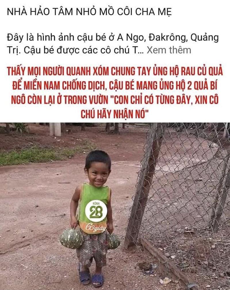 Sự thật bức ảnh cậu bé mồ côi ở Quảng Trị ủng hộ chống dịch