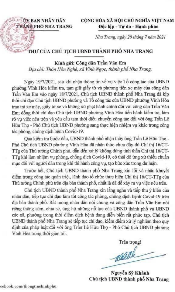 Chủ tịch TP Nha Trang gửi thư xin lỗi dân vụ 'bánh mì không phải thực phẩm'