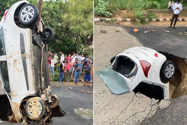 Hyundai i10 sụt hố tử thần, tài xế đập cửa kính sau chui lên từ lòng đất