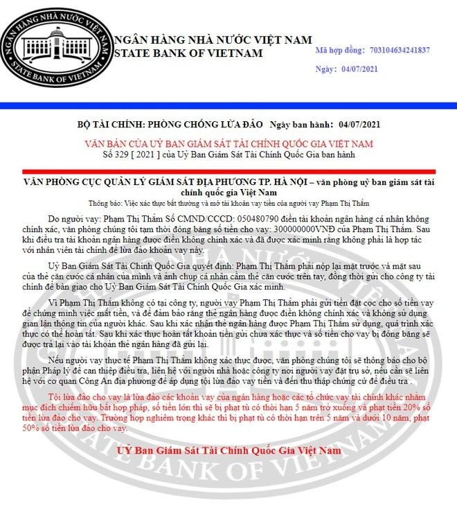 Giả mạo Ngân hàng Nhà nước 'đóng băng' 300 triệu đồng của người dân