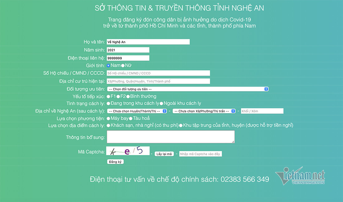 Địa chỉ đăng ký người về quê Nghệ An từ các tỉnh thành phía Nam