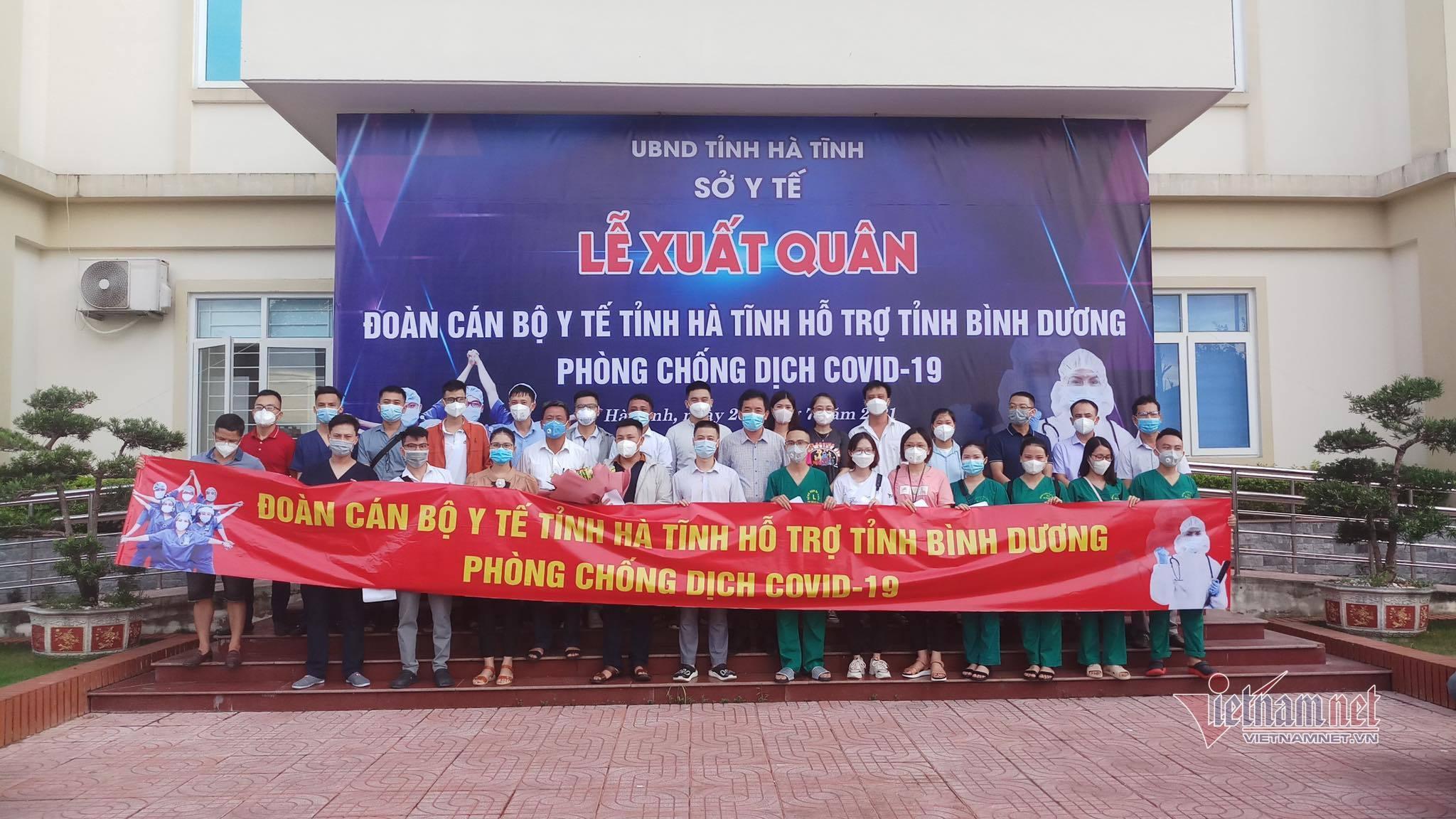 66 cán bộ Hà Tĩnh, Quảng Trị lên đường vào Bình Dương hỗ trợ chống dịch