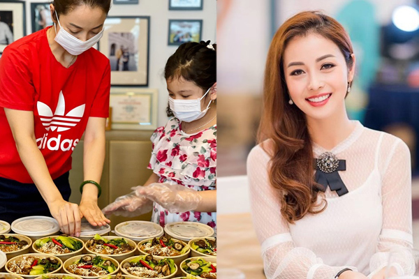 Jennifer Phạm và con gái làm cơm cho lực lượng tuyến đầu