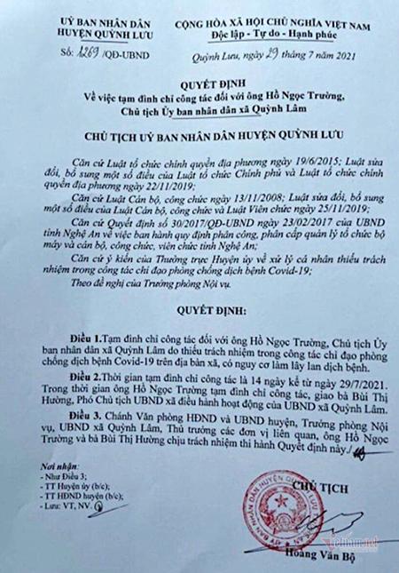 Đình chỉ công tác chủ tịch xã ở Nghệ An cho F1 về thăm vợ mới sinh