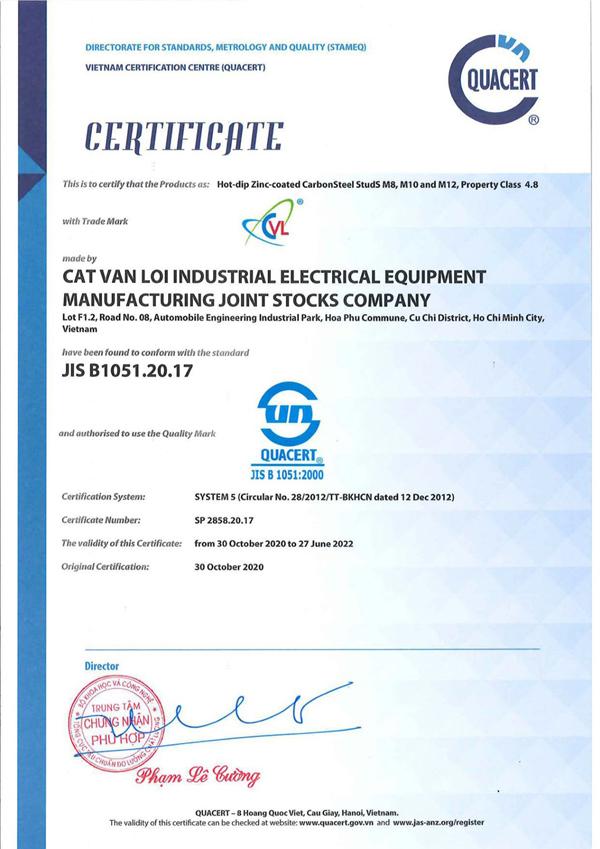 Ty ren Cát Vạn Lợi tiêu chuẩn JIS B 1051 tham vọng chiếm lĩnh thị trường