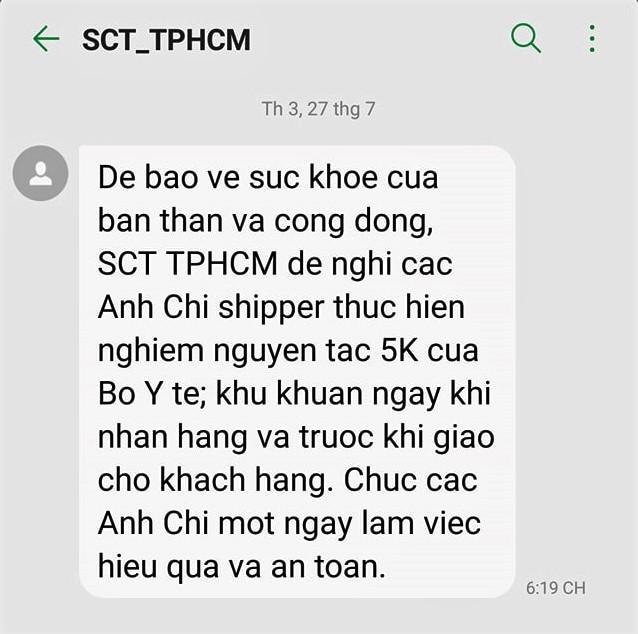 TP.HCM: Nhắn tin xác nhận tới các shipper hàng ngày