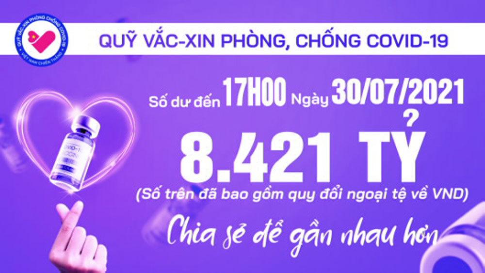 17h ngày 30/7: Quỹ vắc xin tăng thêm 3 tỷ, đạt 8.421 tỷ đồng