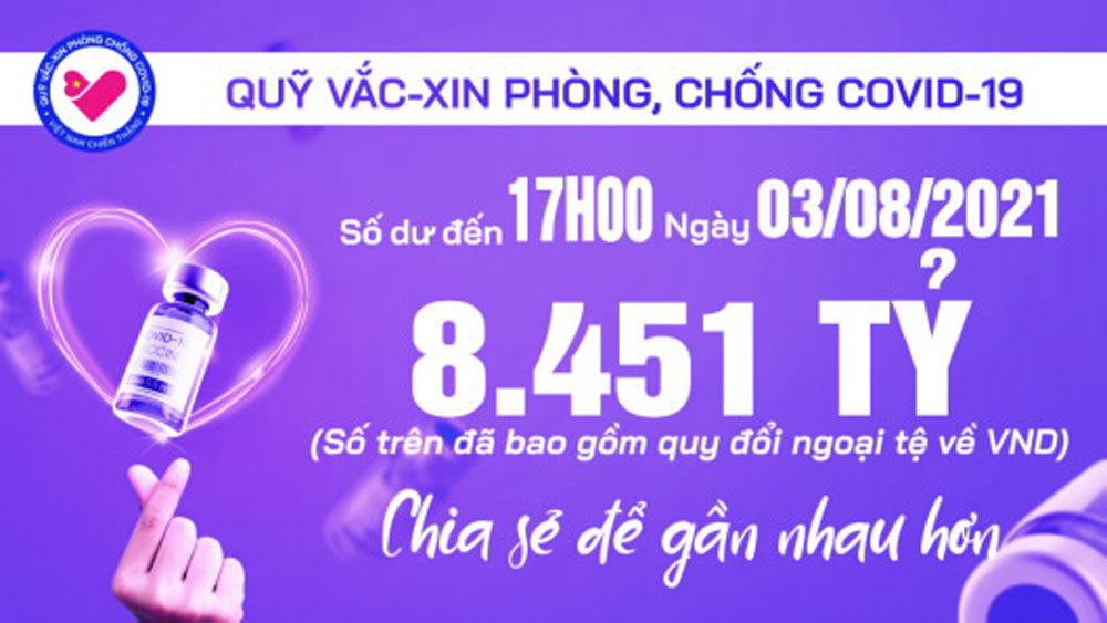 17h ngày 3/8: Quỹ vắc xin tăng thêm 24 tỷ, đạt 8.451 tỷ đồng