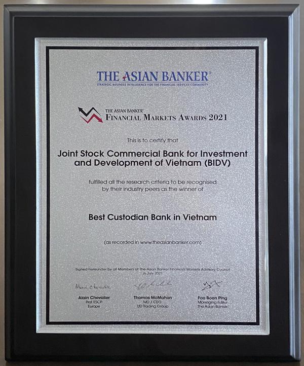 BIDV nhận giải Ngân hàng lưu ký - giám sát tốt nhất Việt Nam 2021