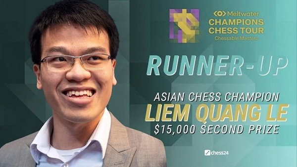 GM Le Quang Liem pockets US$15,000 as runner-up at Chessable Masters