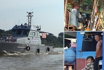 Cảnh sát đường thủy tuần tra trên sông Hồng, ghi hình vi phạm giãn cách