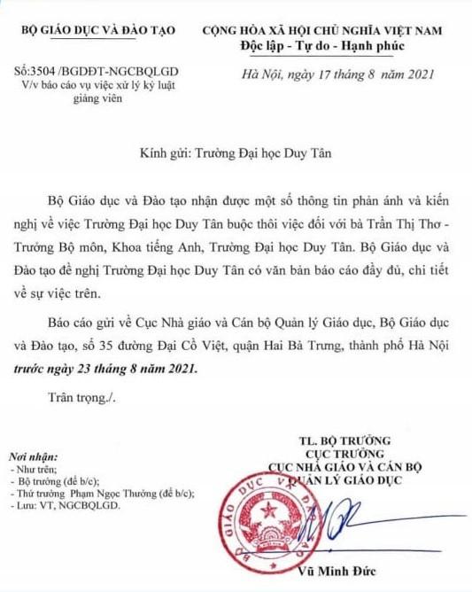 Bộ GD-ĐT yêu cầu ĐH Duy Tân báo cáo vụ sa thải giảng viên