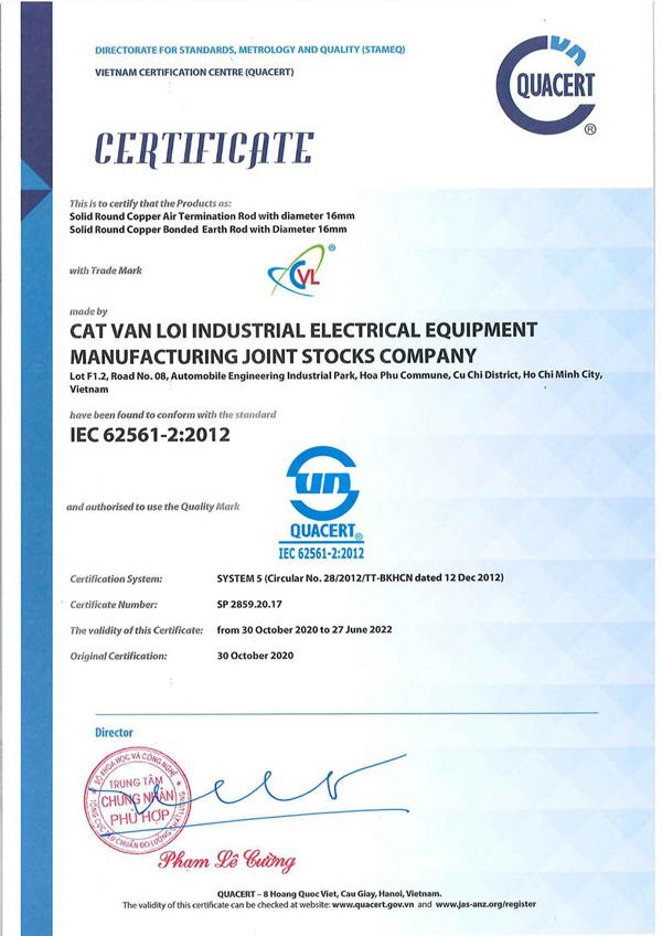 Băng đồng chống sét tiếp địa Cát Vạn Lợi đạt chuẩn IEC 62561