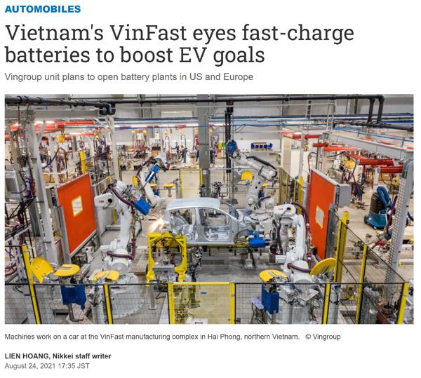 Truyền thông quốc tế: Xe điện VinFast khác biệt với pin sạc siêu nhanh