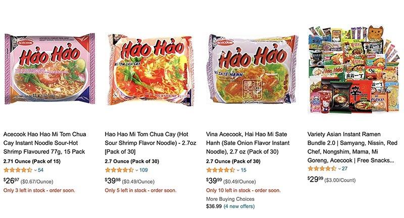 Amazon ra khuyến cáo và hoàn tiền cho khách hàng mua mì Hảo Hảo