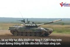 Xe tăng đội Myanmar mất lái, lao xuống ruộng ở Army Games 2021