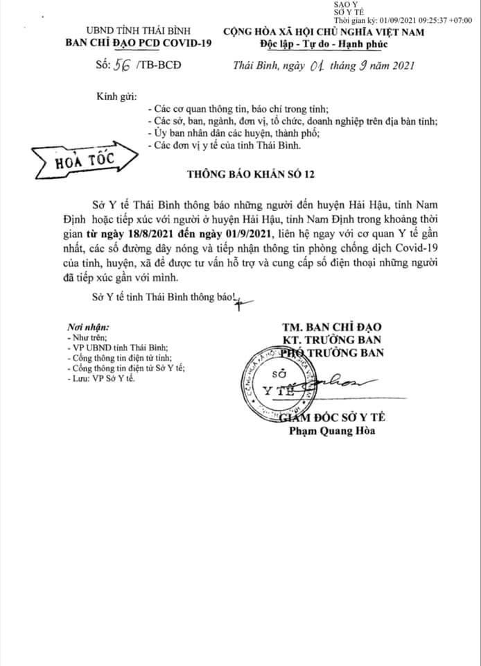 Thái Bình khẩn trương rà soát, tìm người đến huyện Hải Hậu, tỉnh Nam Định