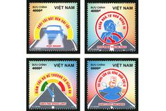 Tuyên truyền 4 quy tắc an toàn giao thông đường bộ trên tem bưu chính