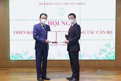 Bộ trưởng Nguyễn Mạnh Hùng phát biểu tại lễ trao quyết định nghỉ hưu cho Thứ trưởng Hoàng Vĩnh Bảo