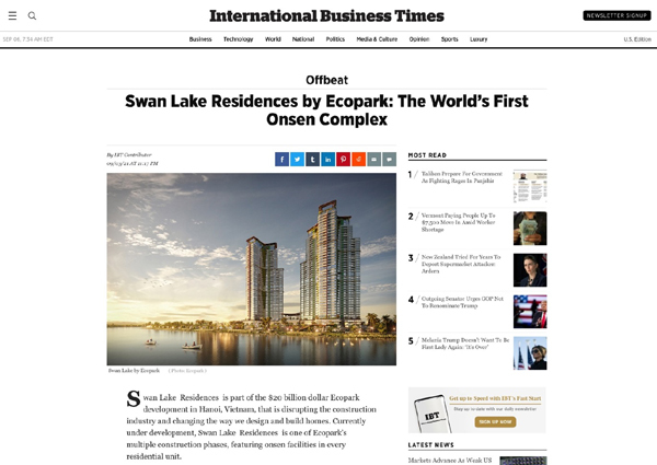 'Swan Lake Residences by Ecopark - Khu phức hợp Onsen đầu tiên trên thế giới'
