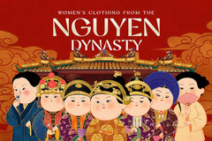 Women's clothing from the Nguyen Dynasty revived in chibi-style paintings