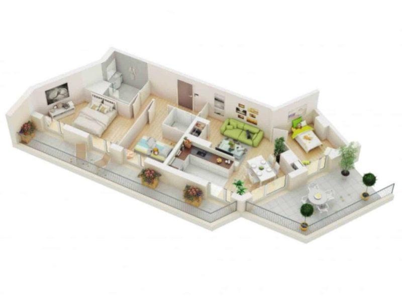 Mẫu nhà ống 1 tầng 3 phòng ngủ cho nhà đông người đang được ưa chuộng