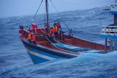 Cứu 13 thuyền viên gặp sự cố trên đường tránh bão ở Quảng Ngãi