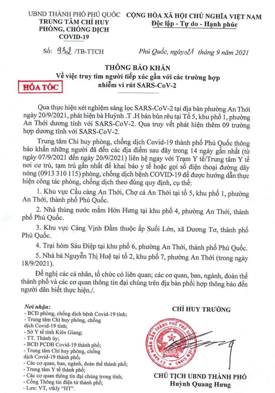 Phú Quốc thông báo khẩn tìm người liên quan đến 10 ca Covid-19
