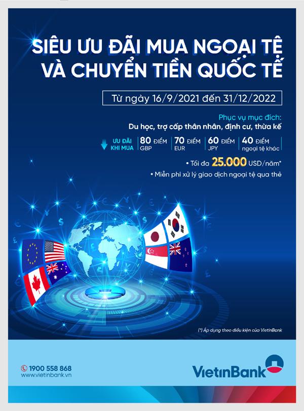 VietinBank ưu đãi khách mua ngoại tệ, chuyển tiền quốc tế