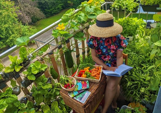 Vườn rau nhỏ trên ban công của gia đình Việt ở Pháp