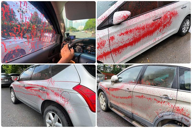 Hàng loạt ô tô bị tạt sơn trong khu đô thị Trung Văn