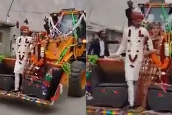 Cặp đôi dùng xe ủi đất làm xe cưới gây sốt