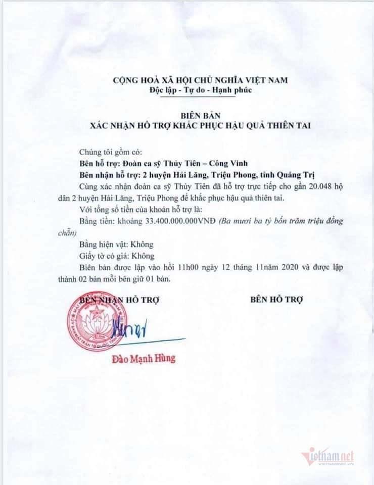 Xác nhận của Uỷ ban MTTQVN tỉnh Quảng Trị.