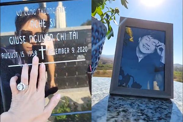 Việt Hương nghẹn ngào bật khóc lần đầu thăm mộ Chí Tài ở Mỹ